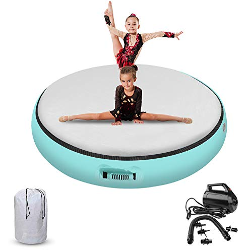 FBSPORT 100x20cm Round Inflatable Gymnastics Air Track Tumbling Mat Airtrack...