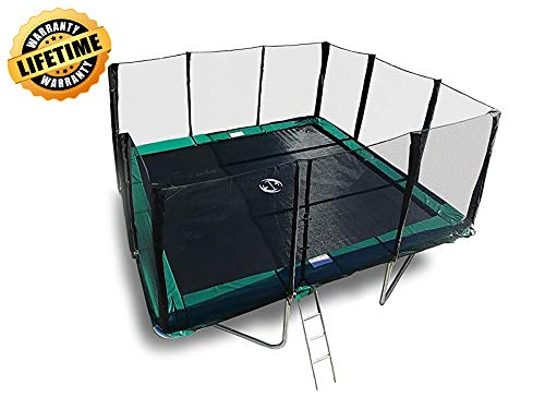 Happy Trampoline - Galactic Xtreme Gymnastic Rectangle Trampoline with Net...