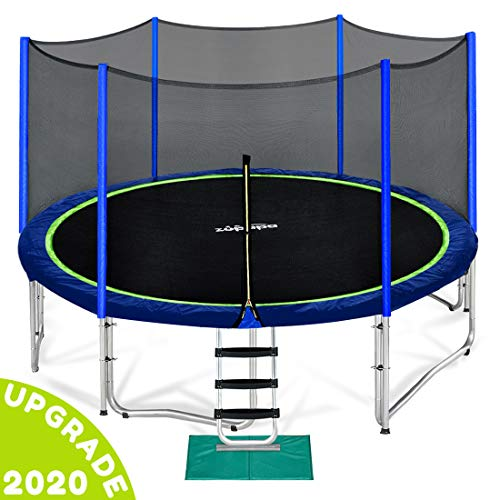 Zupapa 12 FT Kids Trampoline with Enclosure net and Poles Safety Pad Ladder...