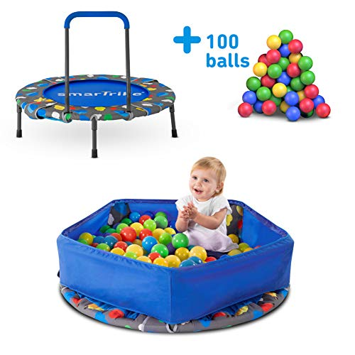 smarTrike 9200000 Indoor Toddler Trampoline with Handle, Ball Pit with 100 Balls...